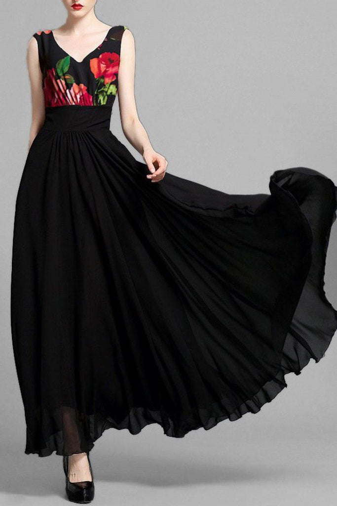 Black Long Dress Printed Yoge