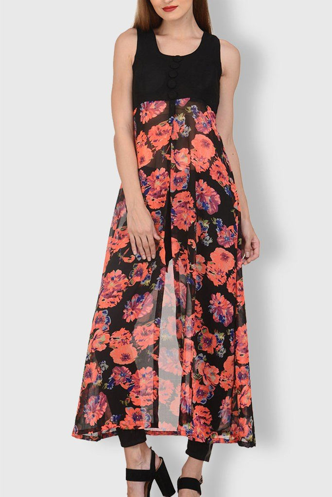Black Yoge Red Flower front open Long dress