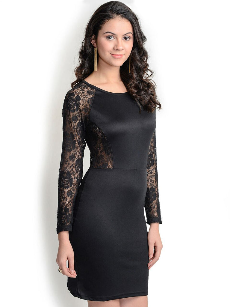 Sexy Black Back Net Bodycon Dress