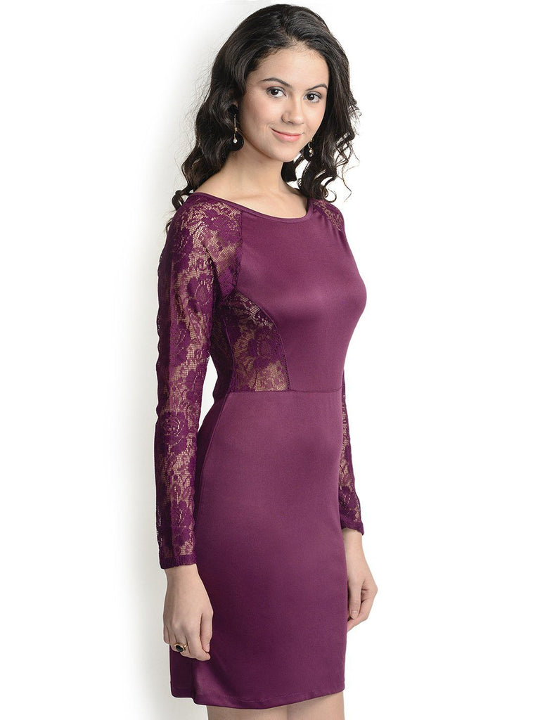 Bodycon Wine Polyester Dress