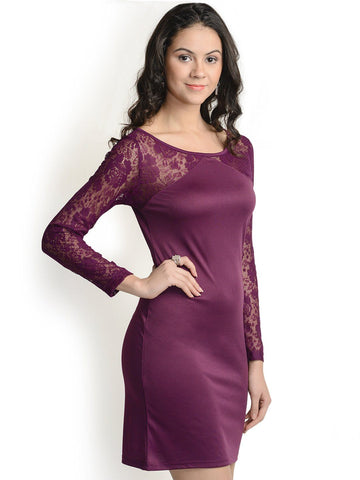 Bodycon Wine Net Sleeves Polyester Dress