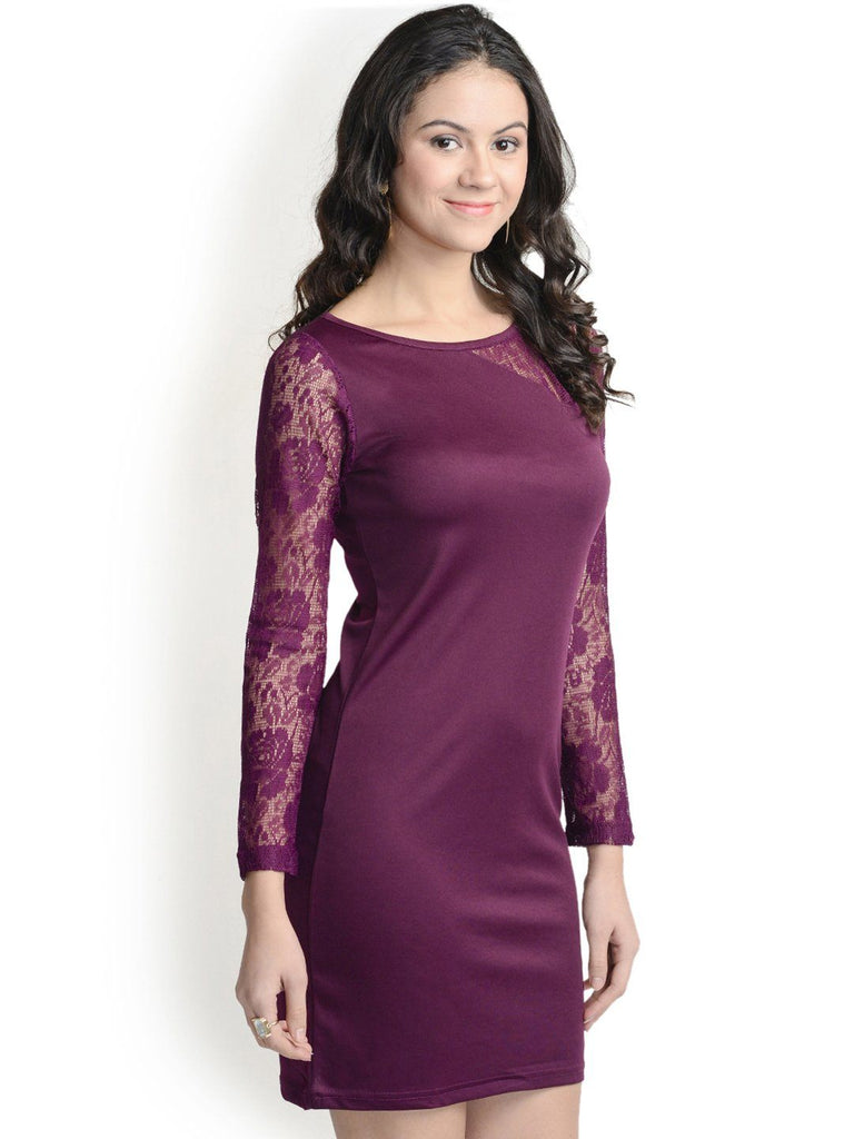 Bodycon Wine Stylish Sleeves Dress