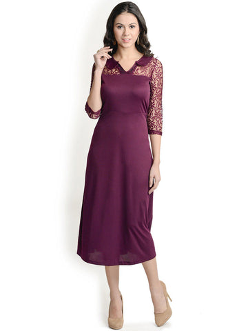 Wine Lacy Maxi Dress