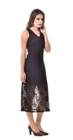 Maxi Black Polyester Dress