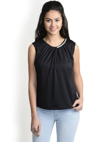 Round Neck Black Sleeveless Top