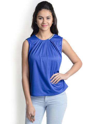 Round Neck Blue Sleeveless Top