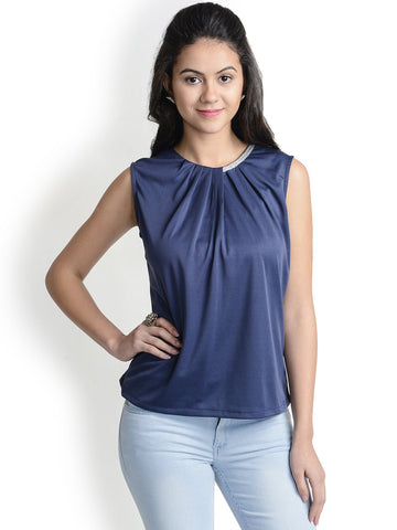 Round Neck Blue Casual Top