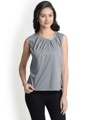 Round Neck Grey Sleeveless Top