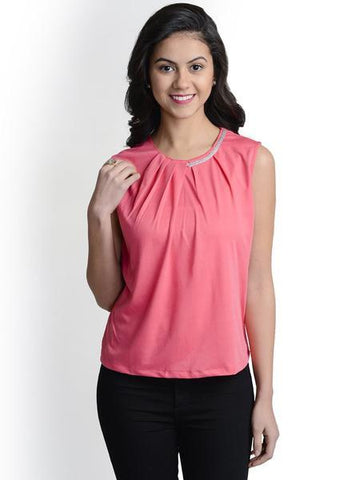 Designer Neck Decent Pink Top