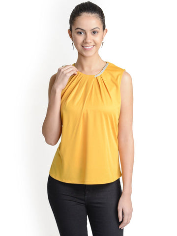 Round Neck Mustard Sleeveless Top