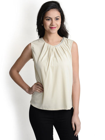 Round Neck Beige Sleeveless Top