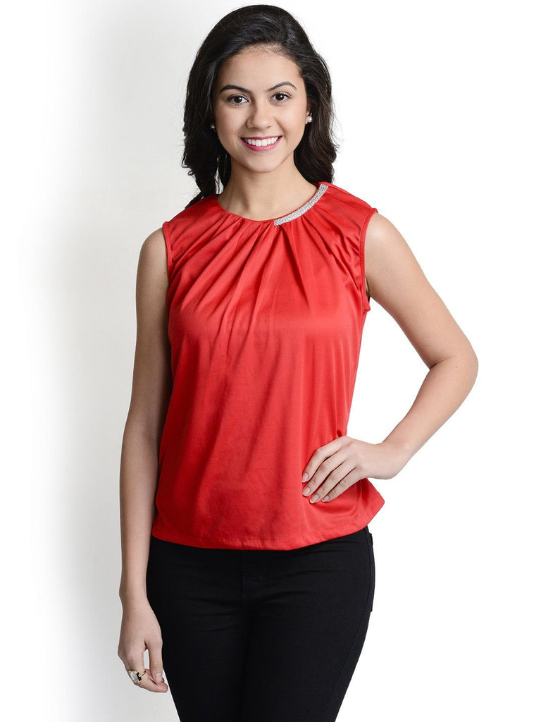 Round Neck Red Sleeveless Top
