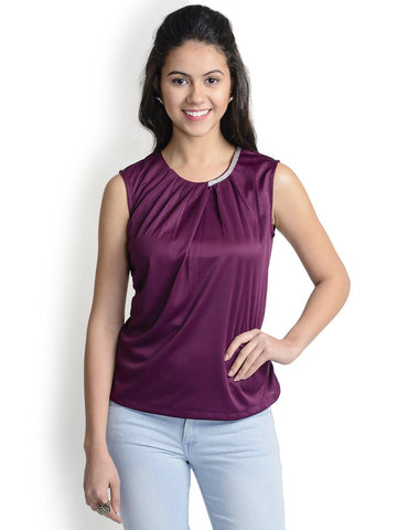 Round Neck Wine Sleeveless Top