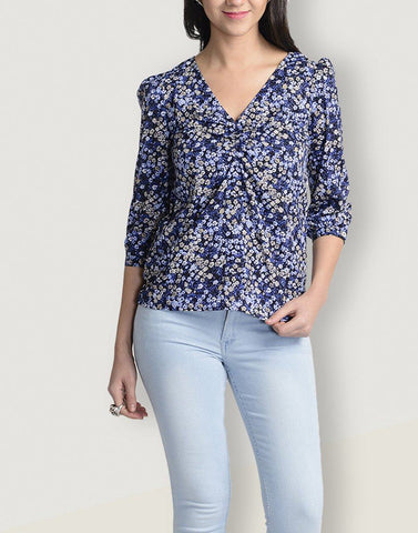 V-Neck Blue 3/4th Sleeve Top