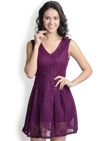 Skater Wine Polyester Dress