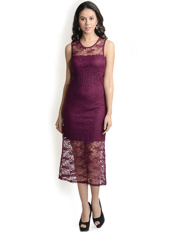 Wine Polyester Maxi Dress