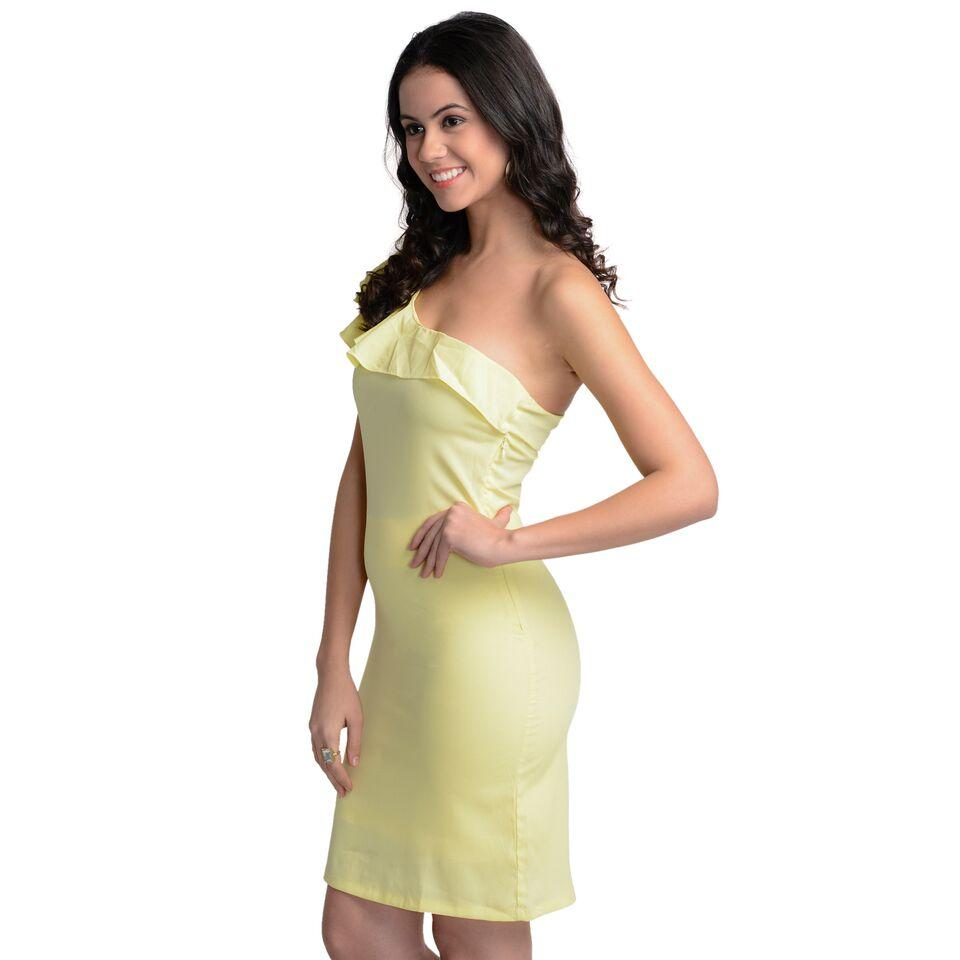 Bodycon Yellow Polyester Dress