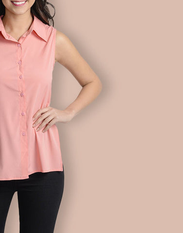 Mandarin Collar Pink Sleeveless Top