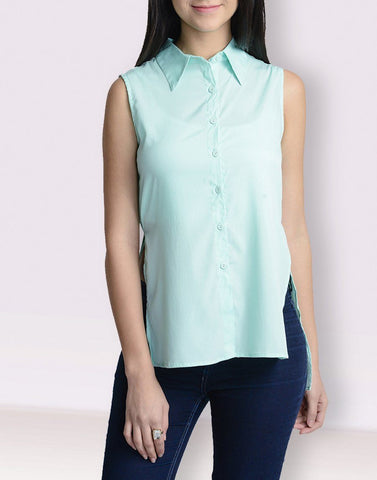Mandarin Collar Green Sleeveless Top