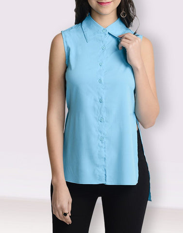 Mandarin Collar Turquoise Sleeveless Top