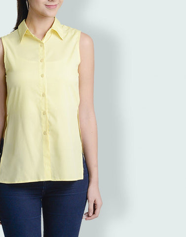 Mandarin Collar Yellow Sleeveless Top