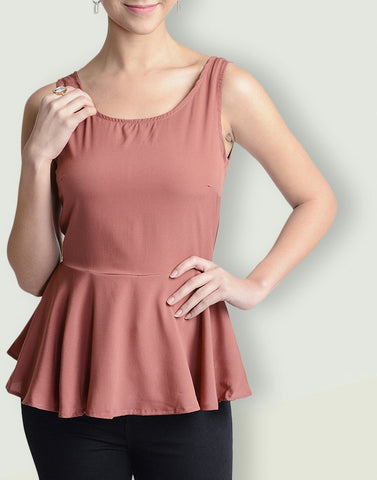 Round Neck Brick Red Sleeveless Top
