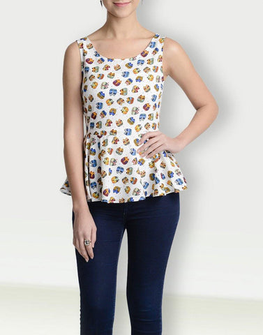 Round Neck Graphic Sleeveless Top