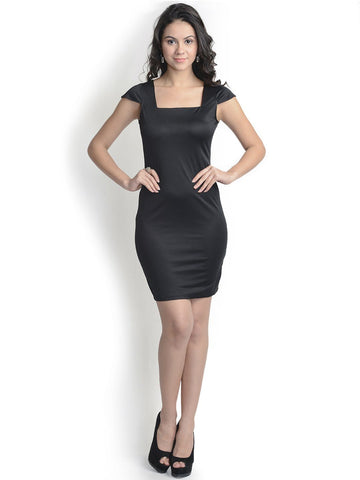 Hot Black Bodycon Polyster Dress