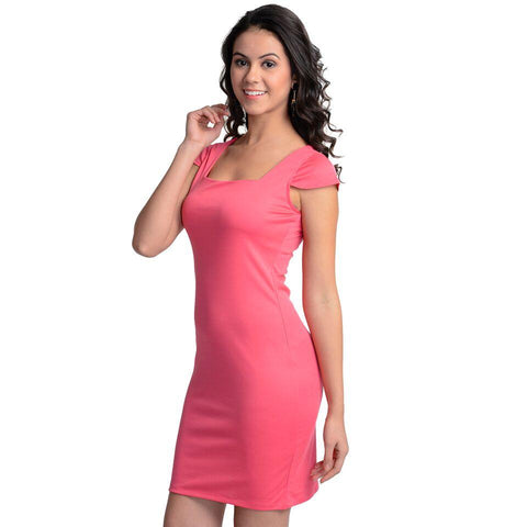 Bodycon Baby Pink Polyester Dress