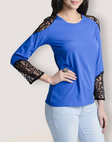 Round Neck Blue Full Sleeve Top