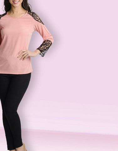 Round Neck Sober Pink Full Sleeve Top