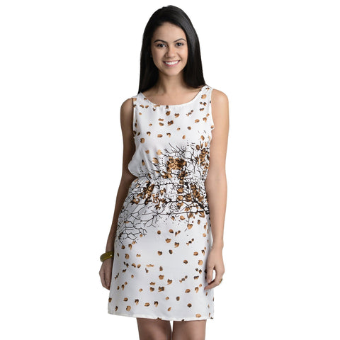 Shift Printed White Polyester Dress