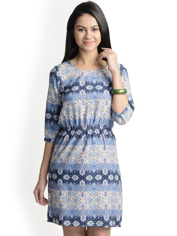 Shift Blue Printed Polyester Dress