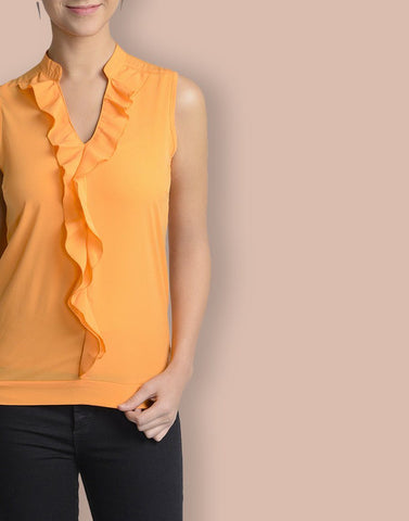 V-Neck Orange Sleeveless Top
