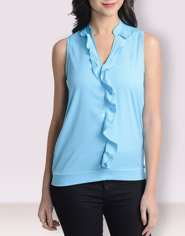 V-Neck Turquoise Sleeveless Top
