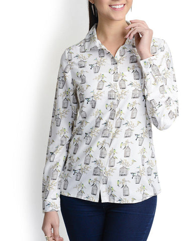 Mandarin Collar White Full Sleeve Top