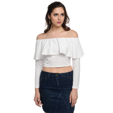 Tube Neck White Full Sleeve Top