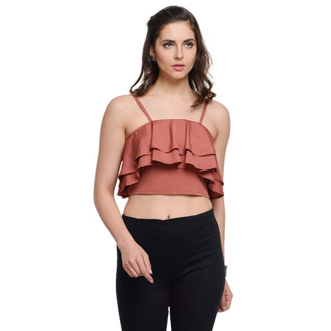 Spaghetti Neck Brick Red Crop Top