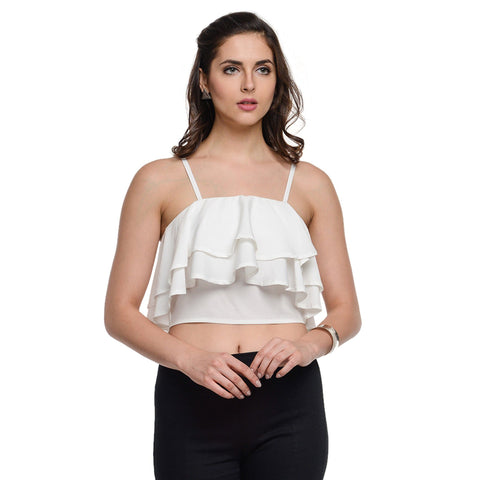 Spaghetti Neck White Sleeveless Top