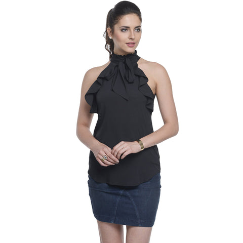 Halter Neck Black Sleeveless Top