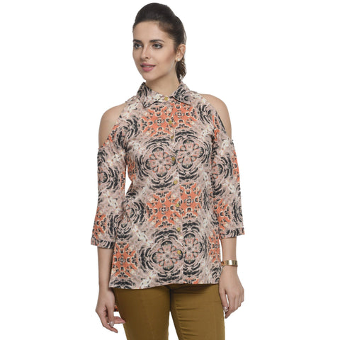 Printed High Neck Peach 3/4th Sleeve Top