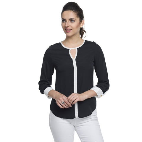 Round Neck Black 3/4th Sleeve Top
