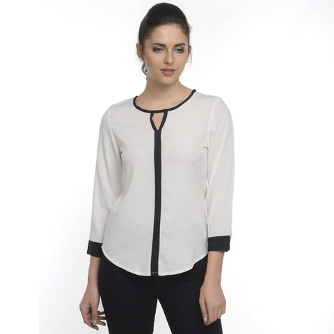 Round Neck Simple  White 3/4th Sleeve Top