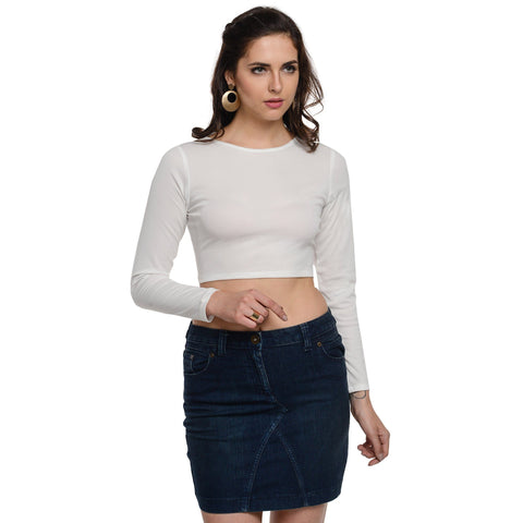 Round Neck White Full Sleeve Crop Top