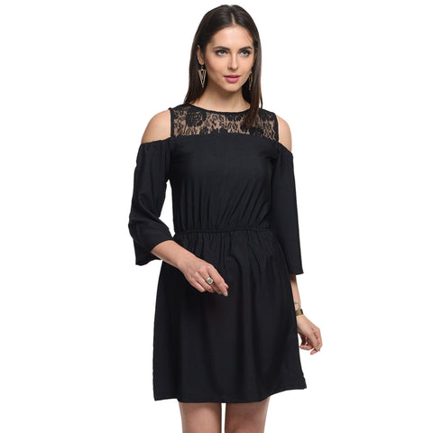 Shift Black Polyester  Off Shoulder Dress