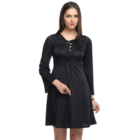 A Line Black Polyester Dress