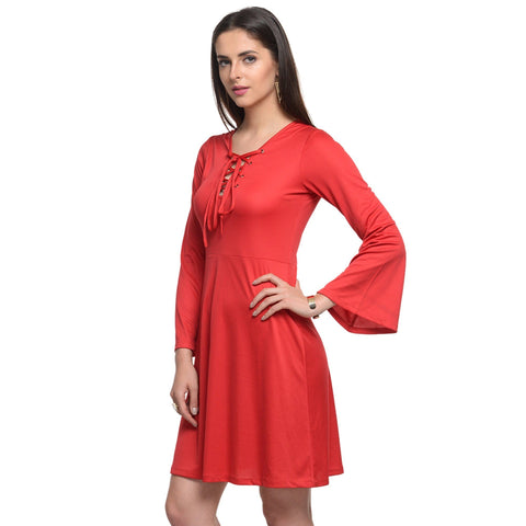 A Line Red Polyester Dress