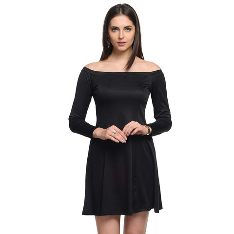 Off Shoulder A Line Black Polyester Dress