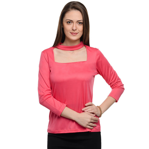 Square Neck Pink 3/4th Sleeve Top
