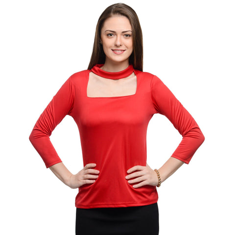 Square Neck Red 3/4th Sleeve Top